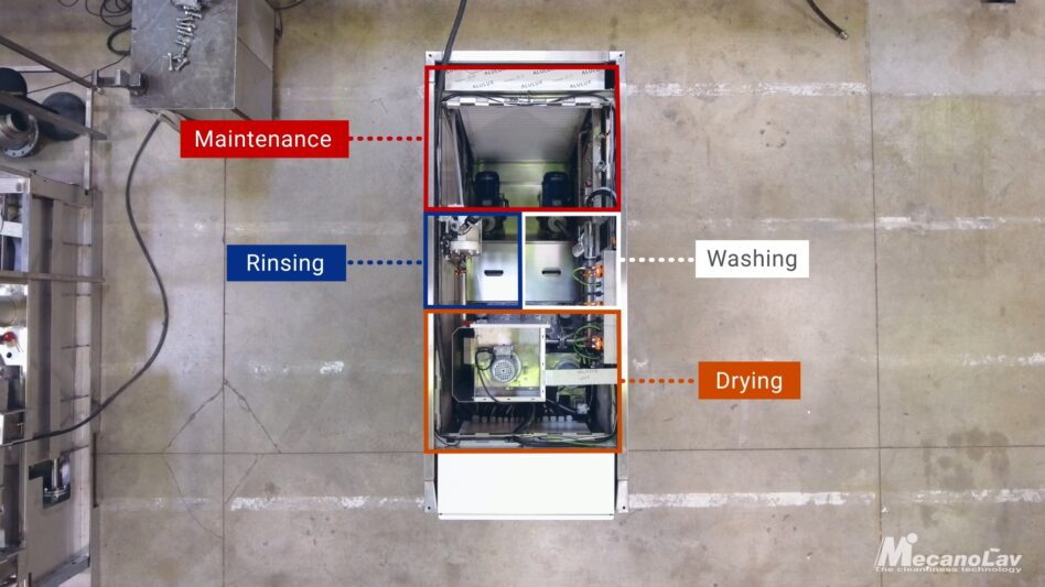 Position of the compact drum parts washer