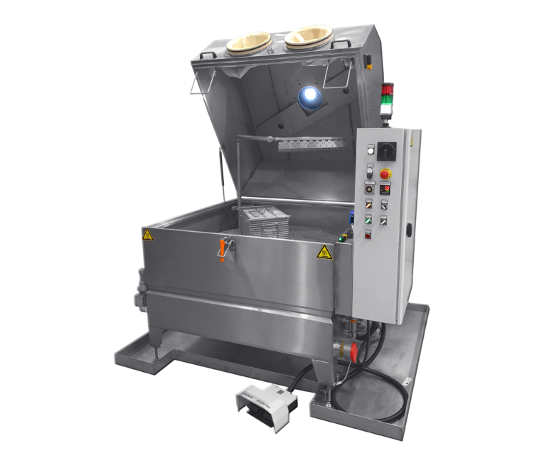 Parts washer with rotary basket manual mode
