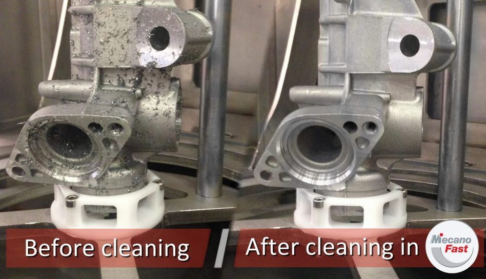 Before and after cleaning rack housing comparison
