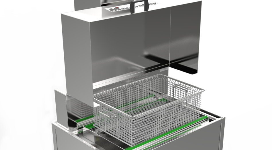 Cleaning unit by immersion and agitation with enhanced lid